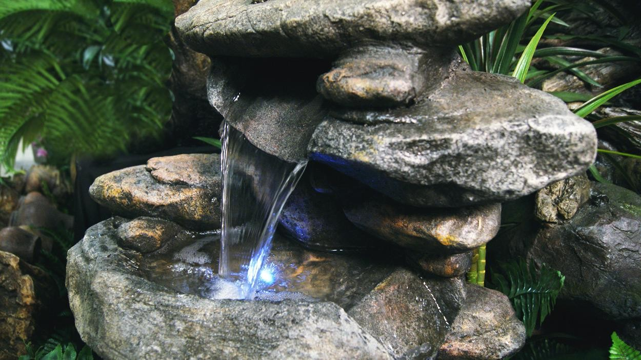 40quot Tall Rock Waterfall Floor Fountain W Led Win316 Garden And Pond Depot