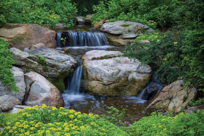 Small pondless waterfall with 6 39 stream kit garden and for Pond kits supplies