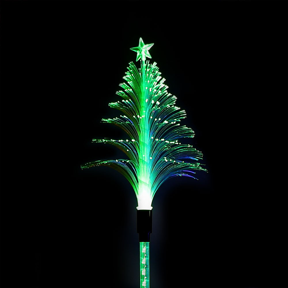 solar fiber christmas tree garden stake garden and pond depot - Christmas Stake Lights