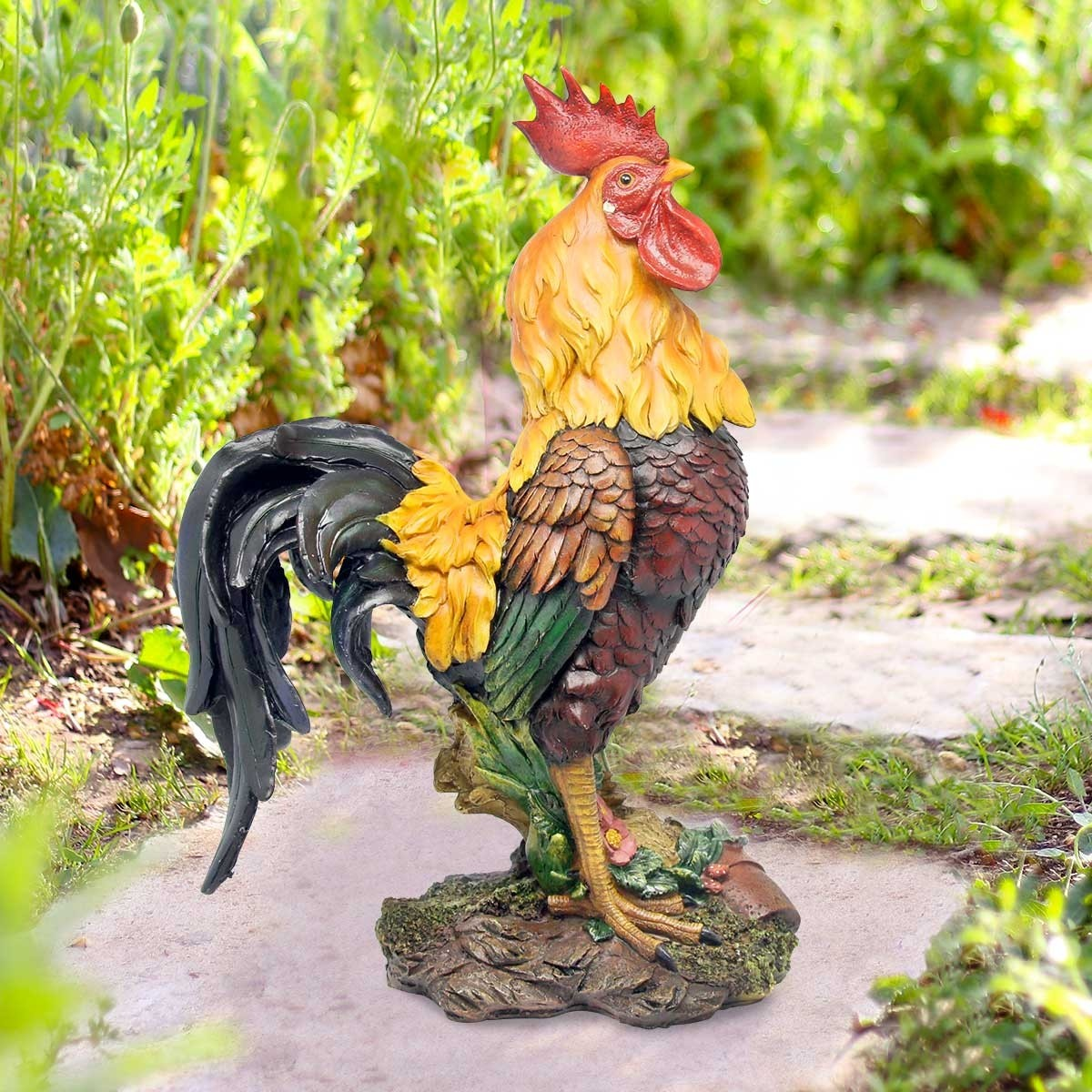 Stsatuette For Outdoor Ponds: Polyresin Rooster Statue