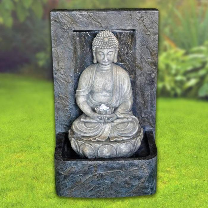 "24"" Tall Buddha Fountain with LED Lights"