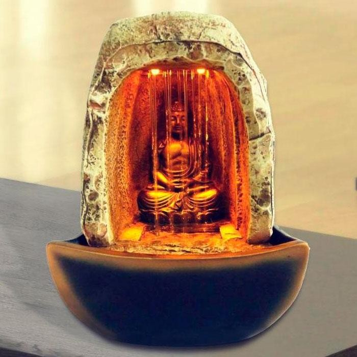 "8"" Tall Buddha Tabletop Fountain with LED Lights"