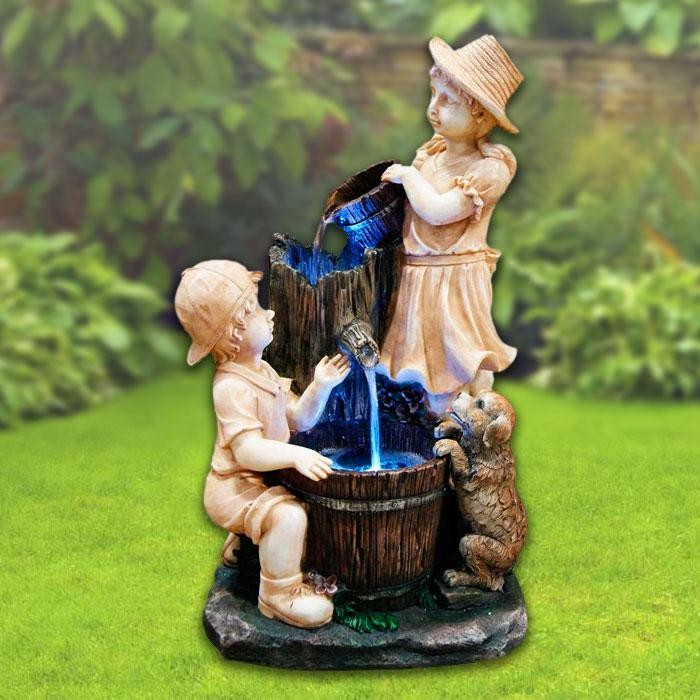 "27"" Tall Lighted Playing Children Fountain"
