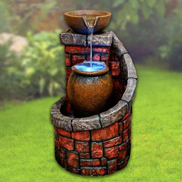 "35"" Tall Lighted Tiered Pots Brick Fountain"