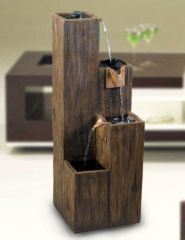 "35"" Tall Timber Indoor/Outdoor Floor Fountain in Wood Grain Finish"