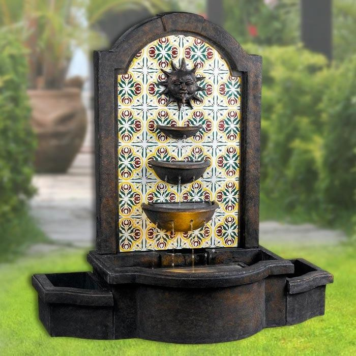 "45"" Tall Cascada Floor Fountain in Madrid Finish with Patterned Tile Motif"