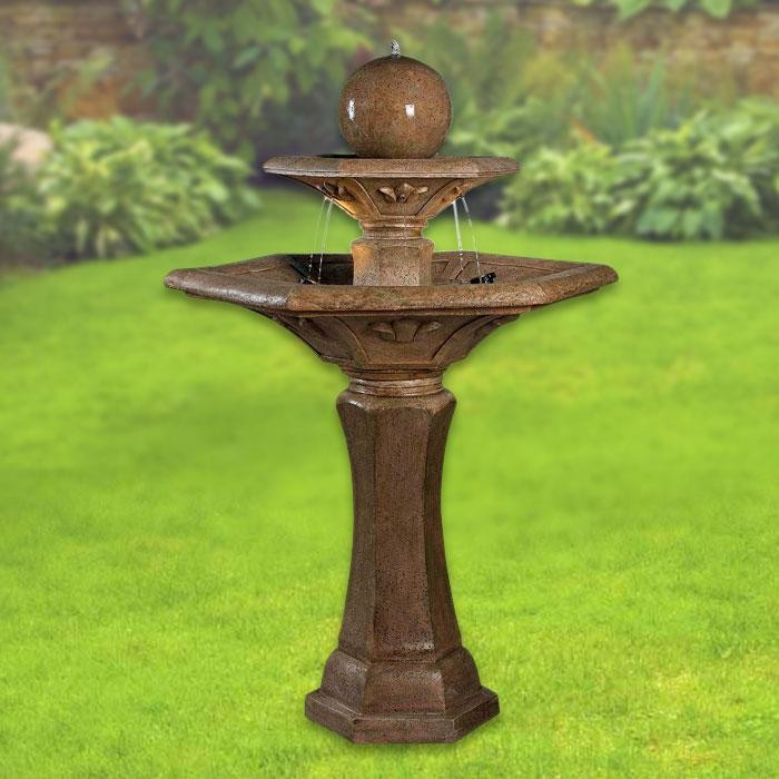 "57"" Tall Provence Outdoor Floor Fountain in Dark Travertine Finish"