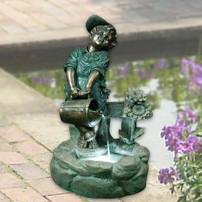 "31"" Tall Boy with Pouring Watering Can Fountain with LED Light"