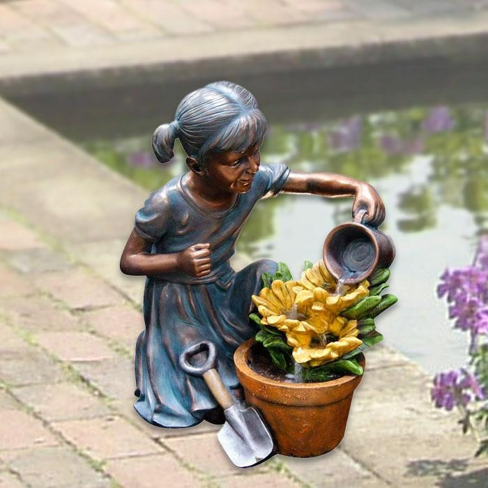"24"" Tall Girl Watering Flower Floor Fountain"