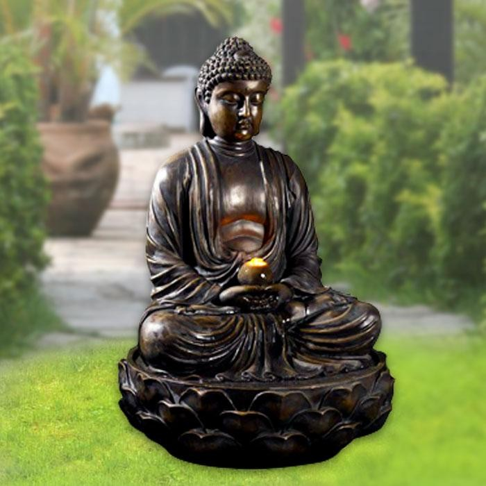 "36"" Tall Lighted Buddha Fountain"