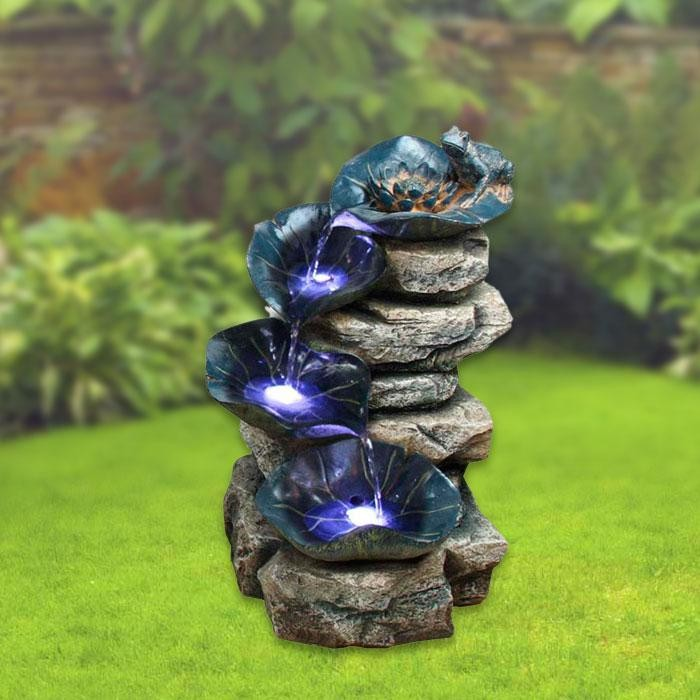 "21"" Tall Lighted 4 Tier Rock Fountain"