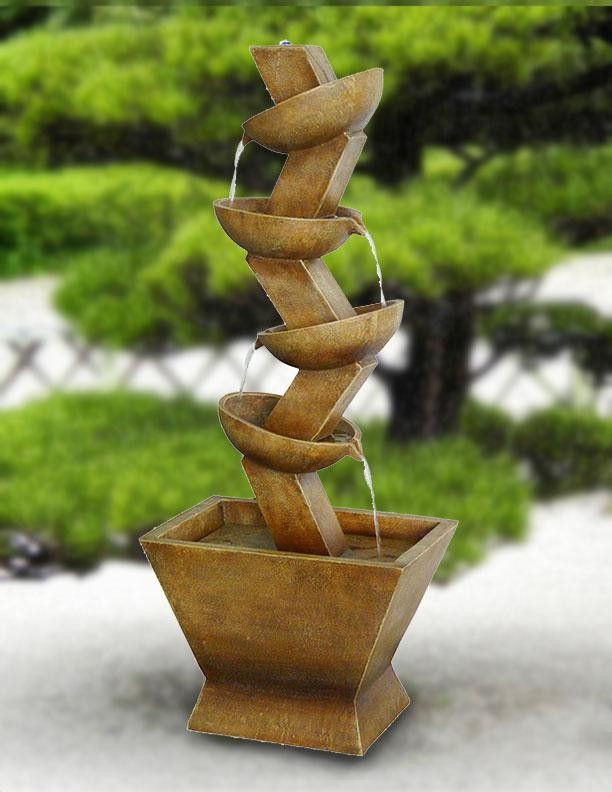 "42"" Tall 4-Tier Pot Fountain with LED Lights"