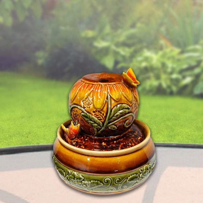 "7"" Tall Ceramic Ball with Butterfly Tabletop Fountain"
