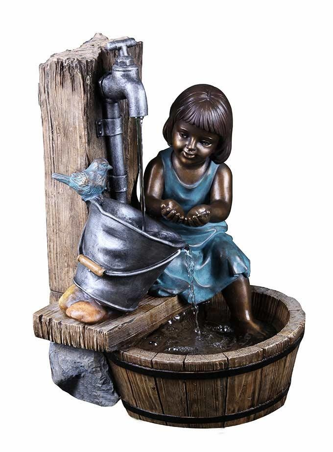 "22"" Tall Lighted Bronze Fountain with Girl"