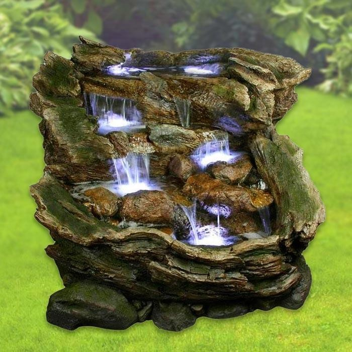 """40"""" Tall 3 Tier Rainforest Fountain with LED Lights"""