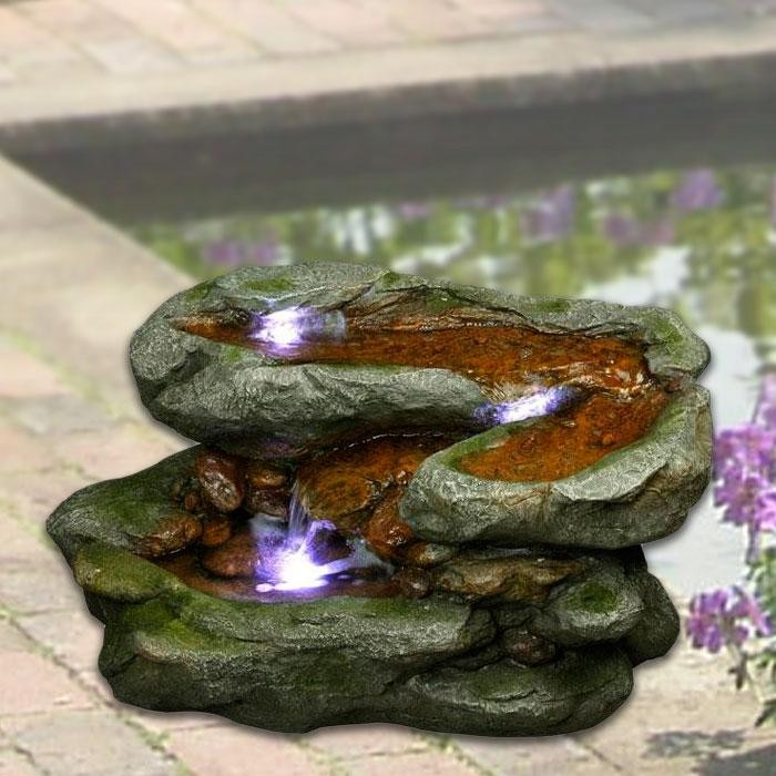 "18"" Tall Rock Waterfall Fountain with LED Lights"