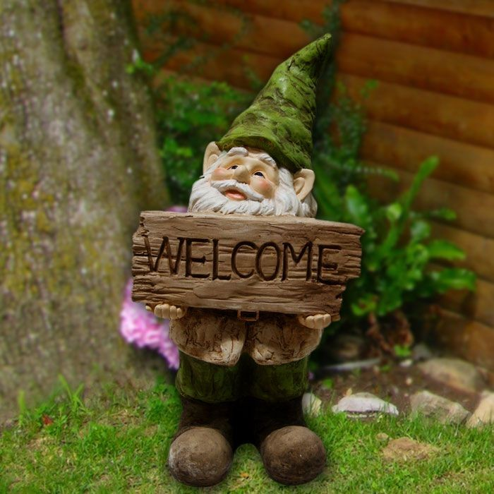 "22"" Tall Gnome with Welcome Sign Statue"
