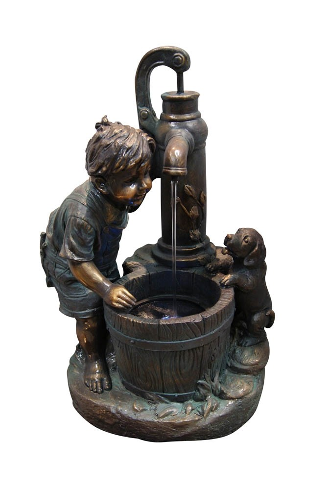 "25"" Tall Boy and Puppy Fountain with LED Light"