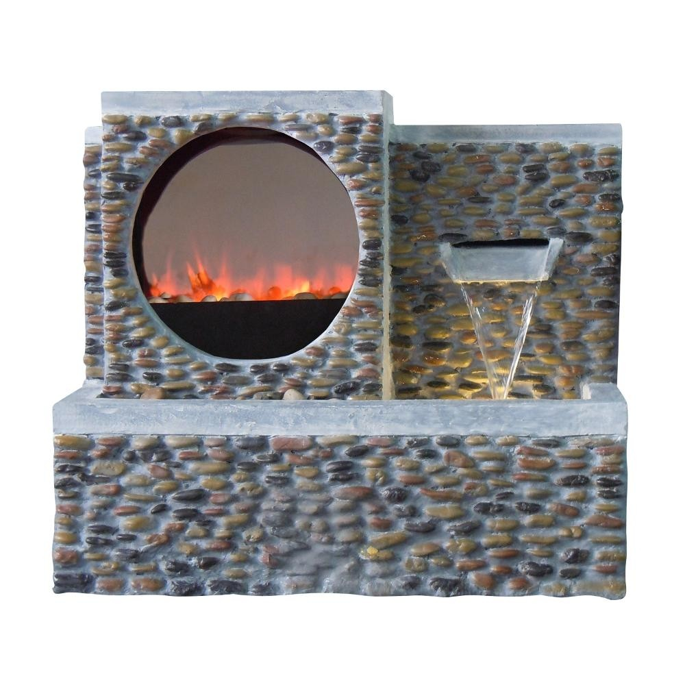 "25"" Tall LED Fireplace Pebble Fountain"