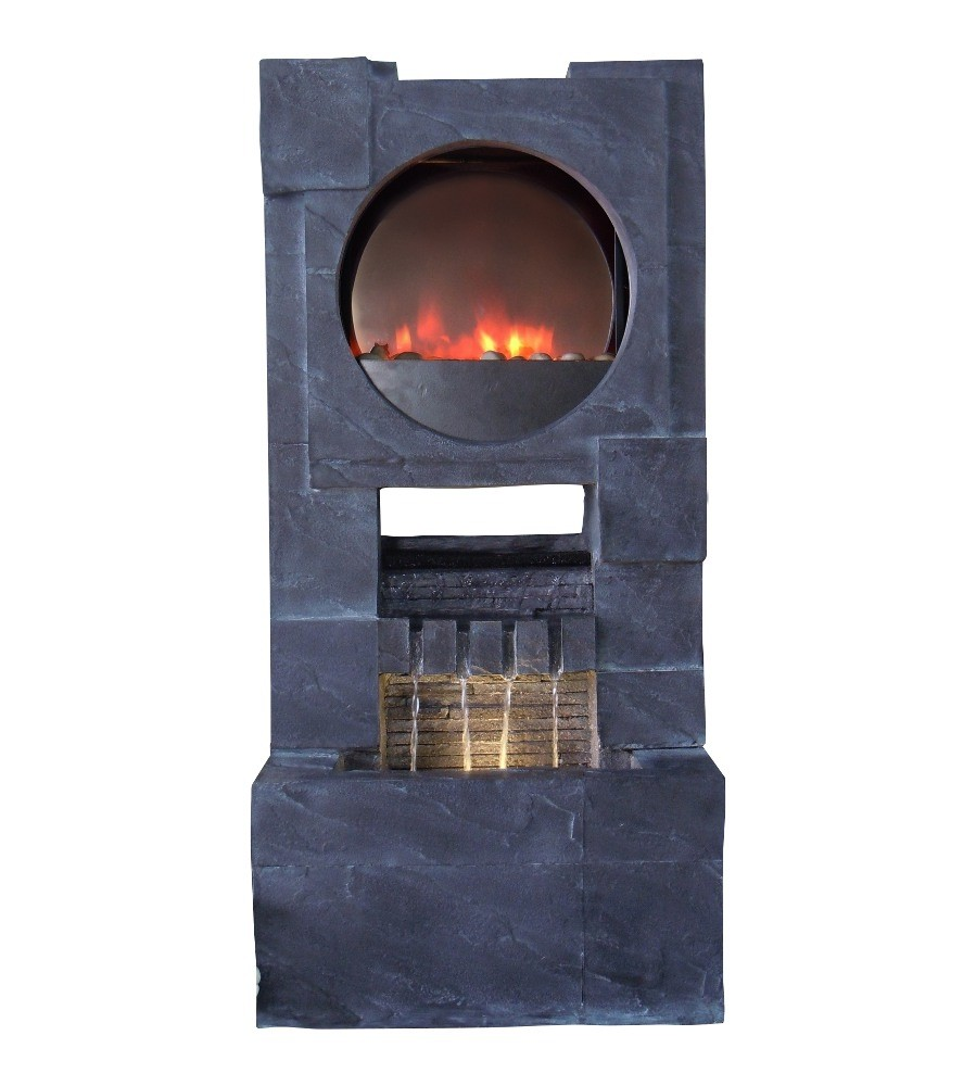 "38"" Tall Zen Fireplace Fountain with LED Lights"