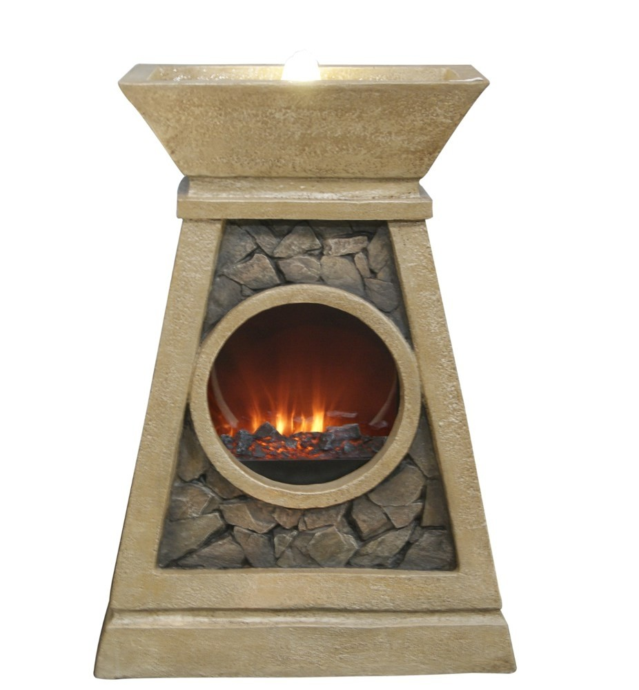 "28"" Tall LED Fireplace Fountain with Cracked Stone Detail"