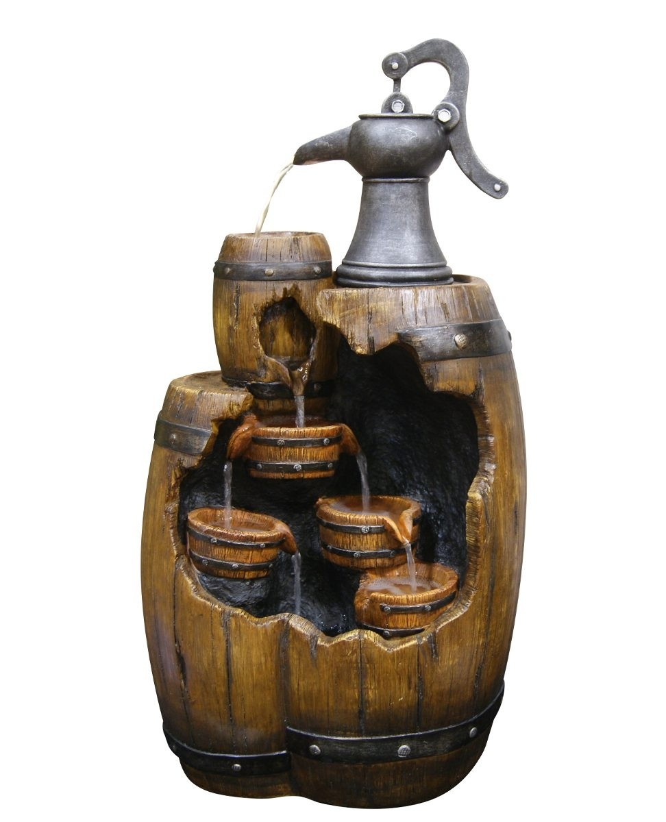 "Alpine 29"" Tall Pump Pouring Wine Barrel Water Fountain"