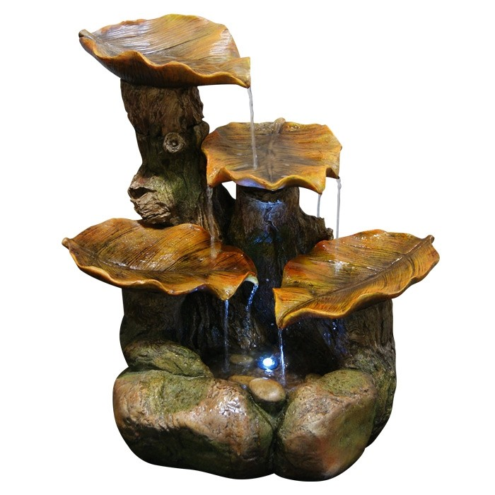 "20"" Tall  Four Leaf Fountain with LED Lights"