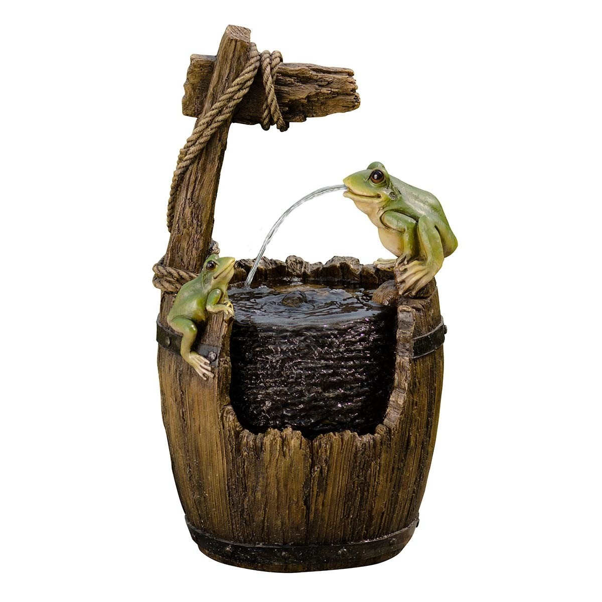 Old Fashioned Wood Barrel With Frogs Fountain