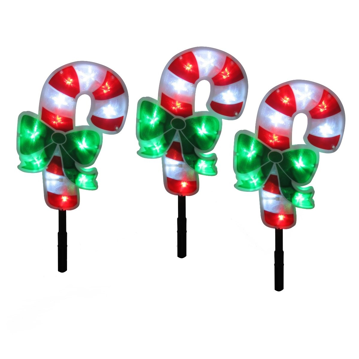 "Alpine 18"" Tall Candy Cane  Garden Stakes set of 3"