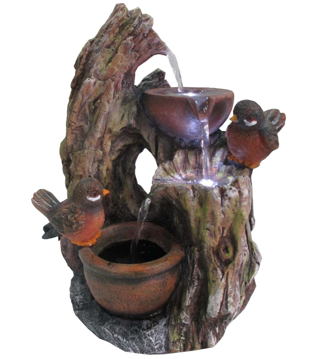 "11"" Tall Alpine Two Birds and Jars on Trunk Tabletop Fountain"