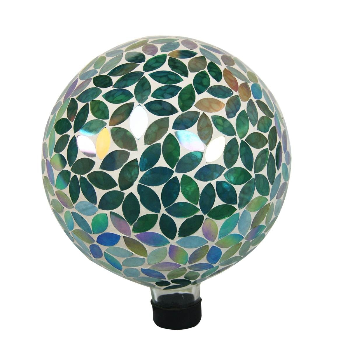 "10"" Mosaic Glass Gazing Globe Green Leaves"