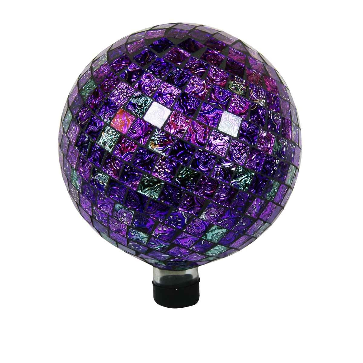 "10"" Mosaic Glass Gazing Globe Shinning Purple"