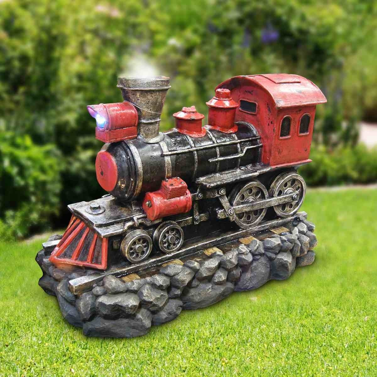 Alpine Steaming Train Fountain with LED lights