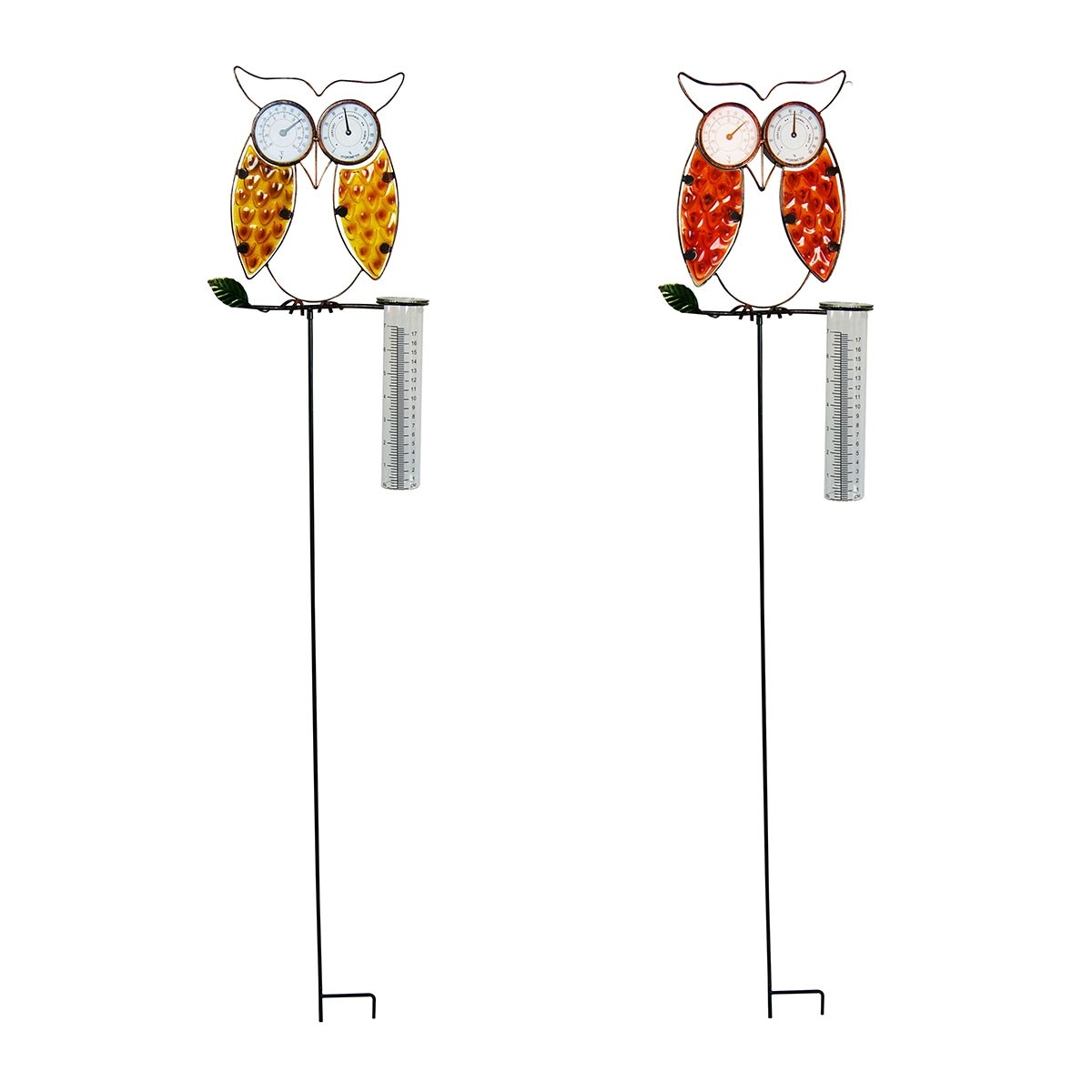 """45"""" Metal Owl Assorted Garden Stakes with Thermometer Hygrometer and Glass Gauge"""