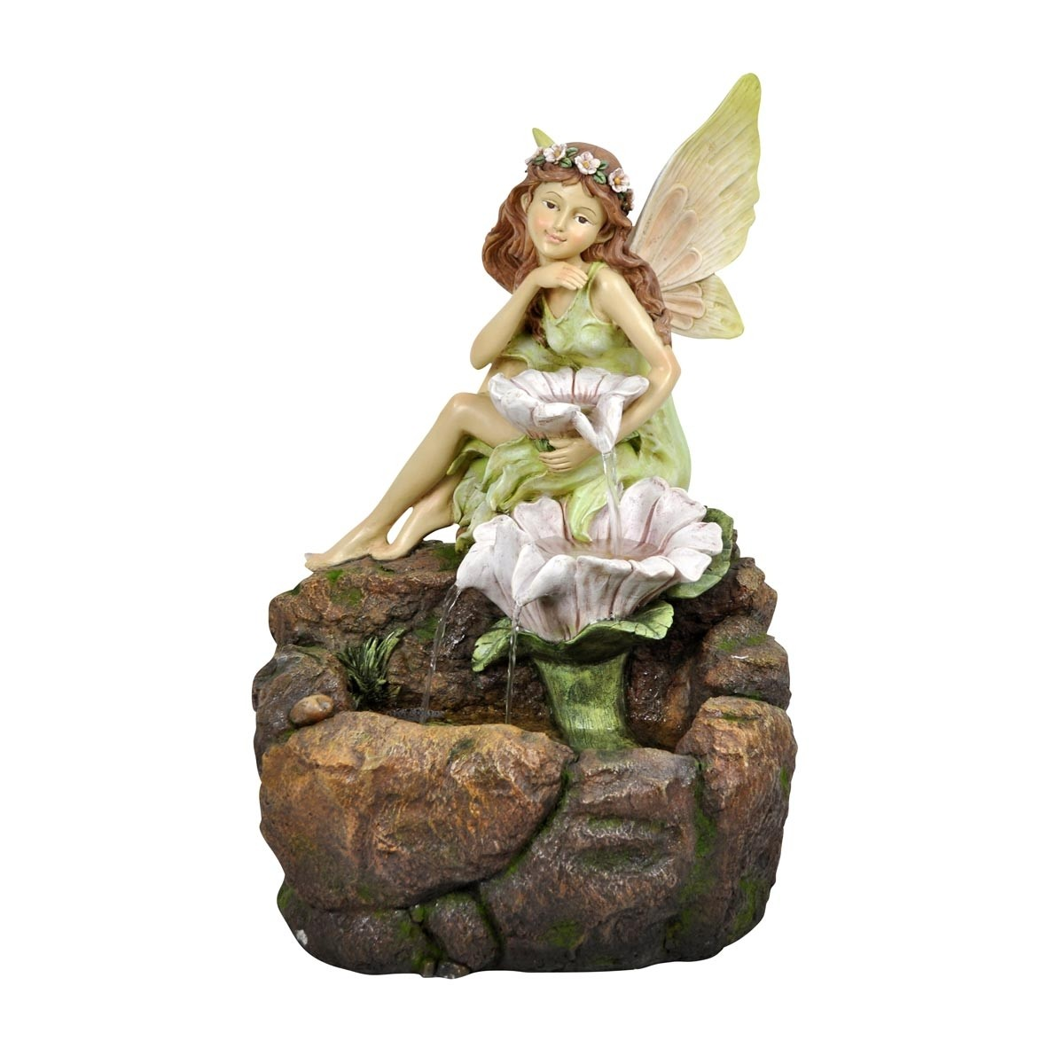 "23"" Tall Alpine Fairy w/ White Flowers Floor Fountain with LED Lights"