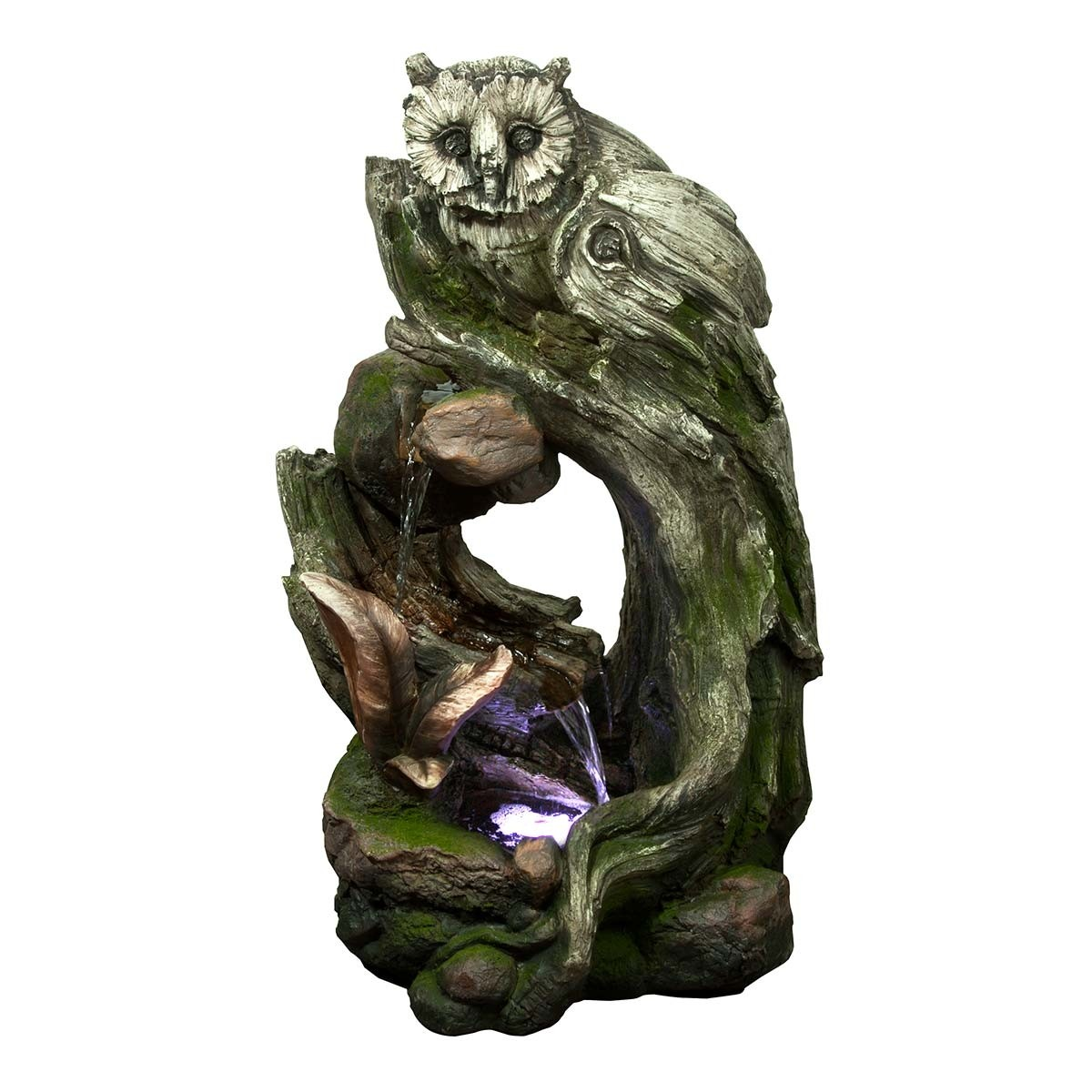 Owl Rainforest Tree Trunk Fountain with LED Lights