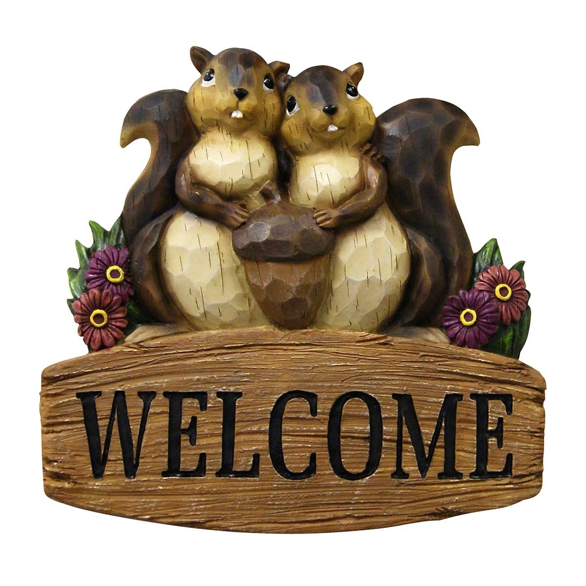 Squirrel Family with Welcome Sign Hanging Decor
