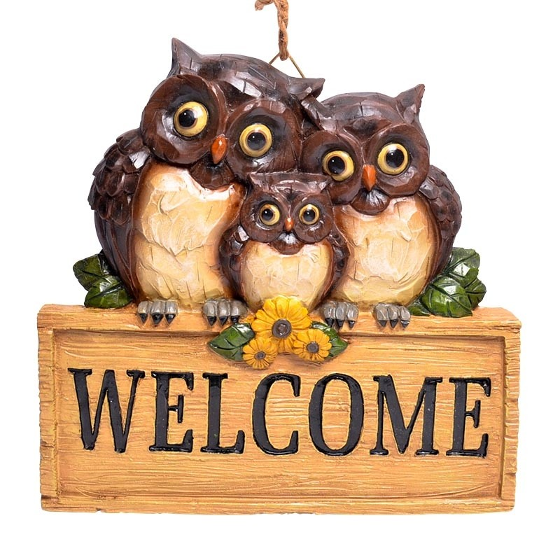 Owl Family with Welcome Sign Hanging Decor