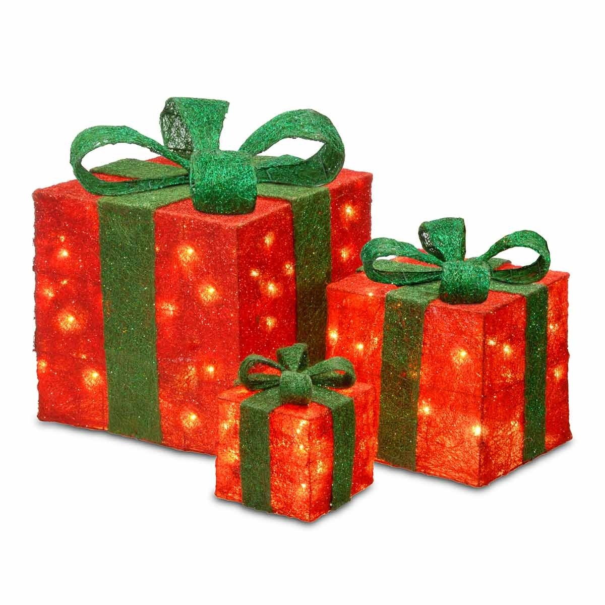 Red Sisal  3 Gift Boxes w/ lights