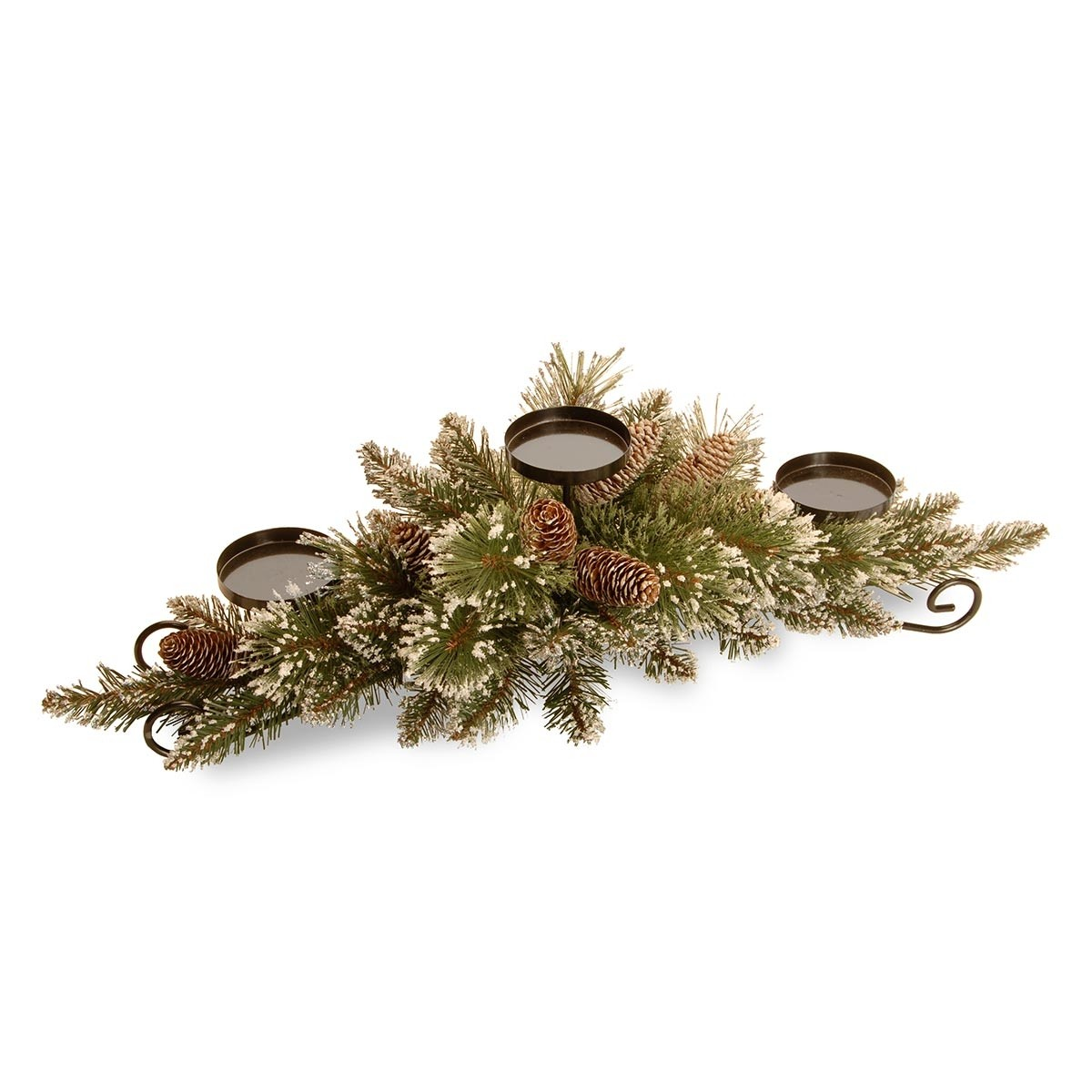 "30"" Glittery Pine Centerpiece w/3 candle holders"