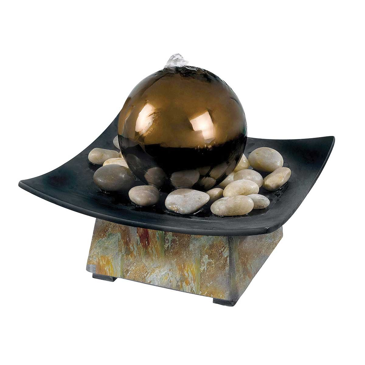 "8"" Tall Sphere Indoor Table Fountain in Natural Green Slate Finish, Stainless Steel Ball"
