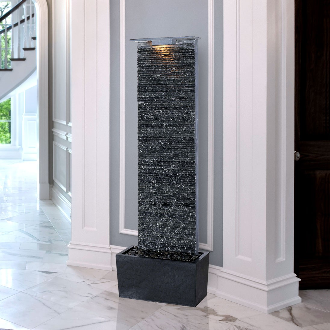 "49"" Tall Bedrock Falls Floor Fountain in Natural Gray Slate Finish 
