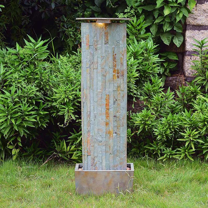 "49"" Tall Waterwall Floor Fountain in Natural Slate Finish 