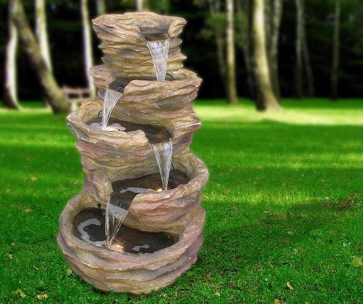 "Alpine 39""Tall Five-Level Rock Pond Fountain – Red"