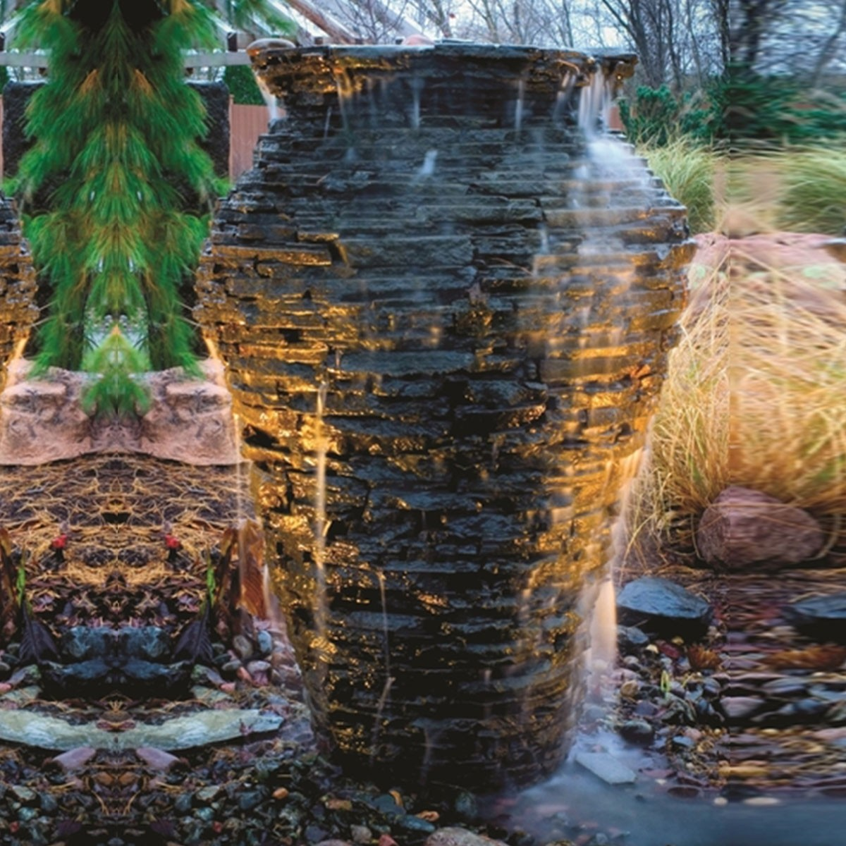 "45"" Stacked Slate Urn Fountain Kit"