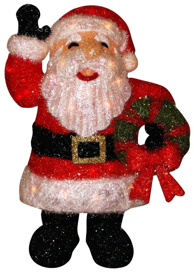 "27"" Tall Lighted Santa Claus Holding Wreath"
