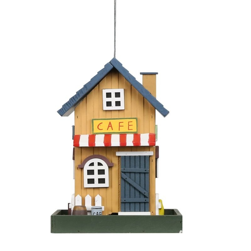 "18"" Colorful Hanging Wooden Birdfeeder Café House"