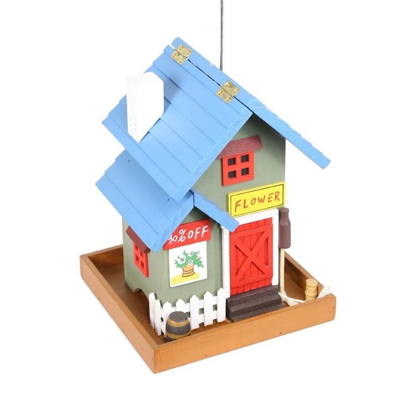 "19"" Colorful Hanging Wooden Birdfeeder Flower Shop"