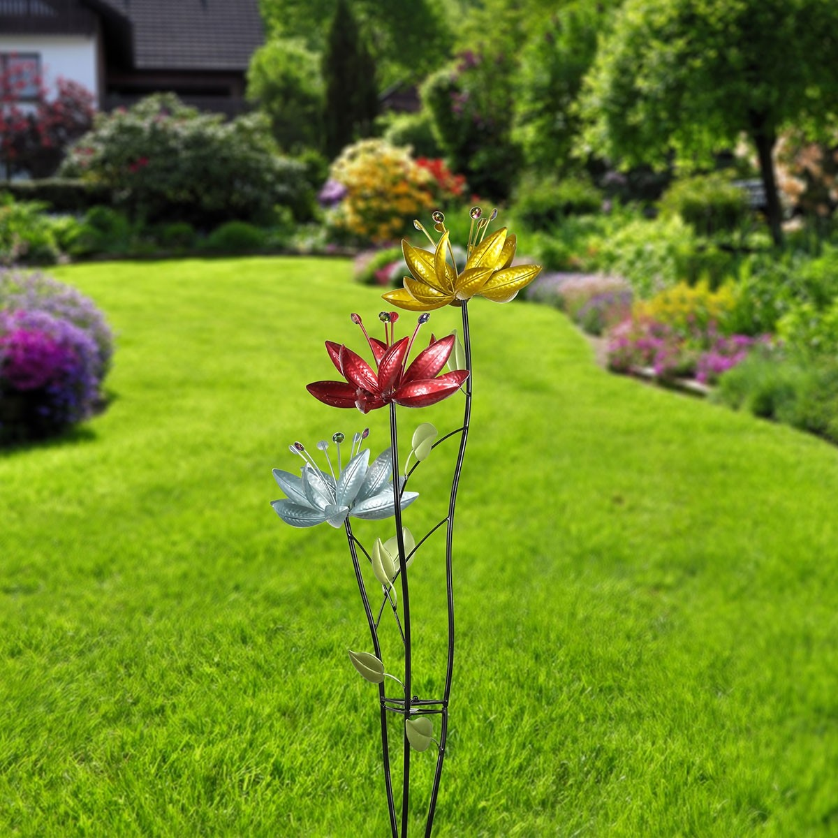 "54"" Blossoming Lily Floral Trio Spinner Garden Stake"