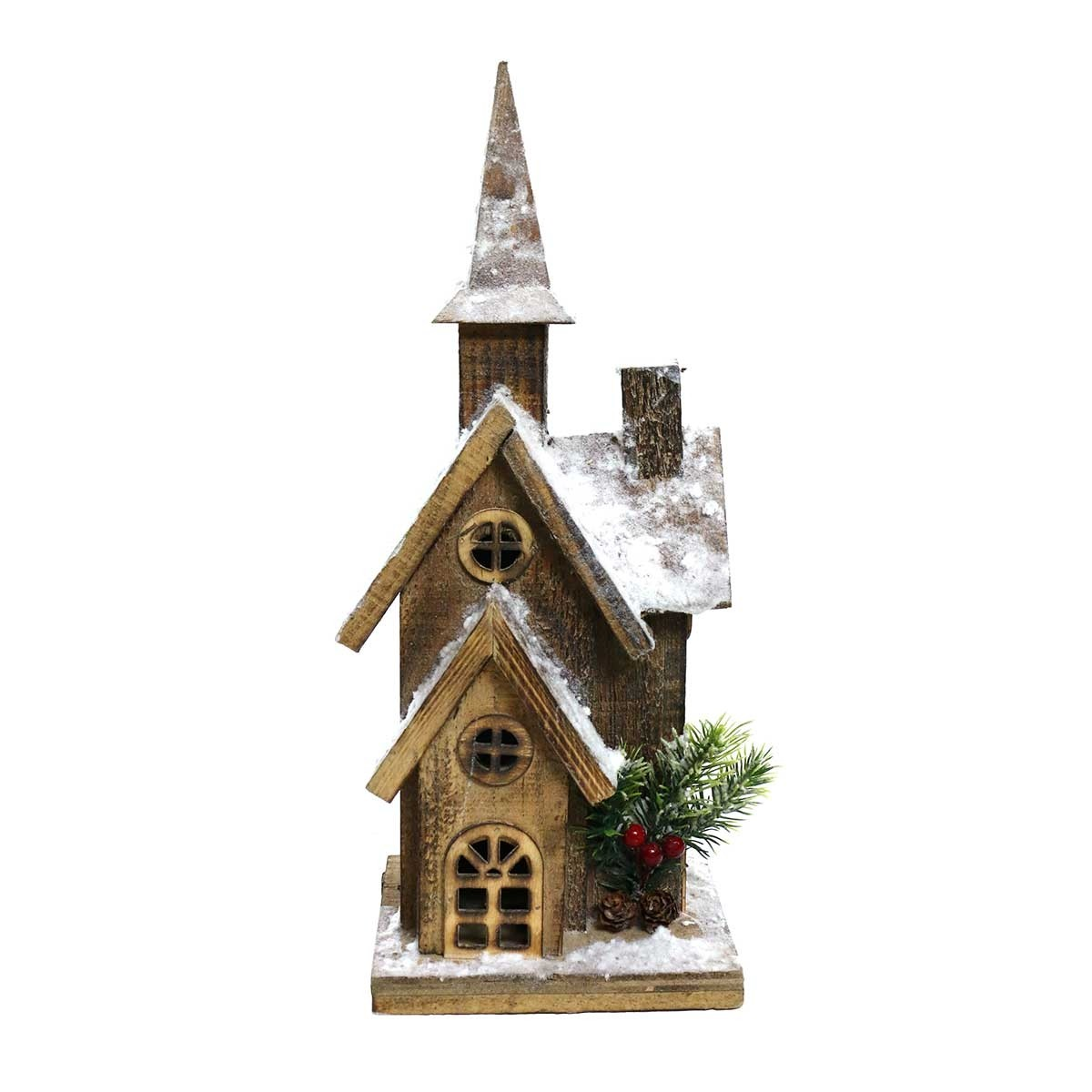 "16"" Christmas Wooden House with 10 LED Lights"
